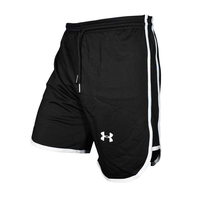 سه رخ شلوارک ورزشی مردانه Under Armor خط سفید دار مشکی