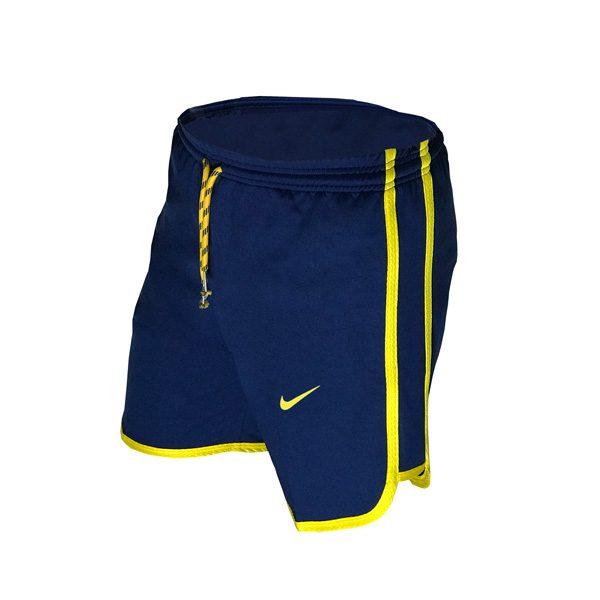 سه رخ شلوارک ورزشی مردانه نایک NIKE سرمهای خط زرد