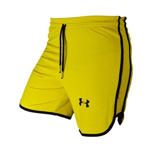 سه رخ شلوارک ورزشی مردانه UNDER ARMOUR زرد خط مشکی