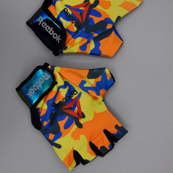 دستکش بدنسازی زنانه ریباک مدل GDS طرح چریکی نارنجی