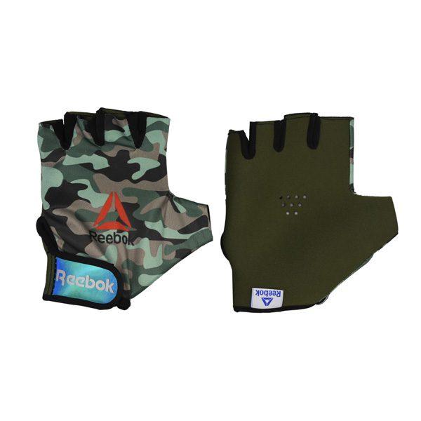 دستکش بدنسازی مردانه ریباک مدل GDS طرح چریکی سبز روشن
