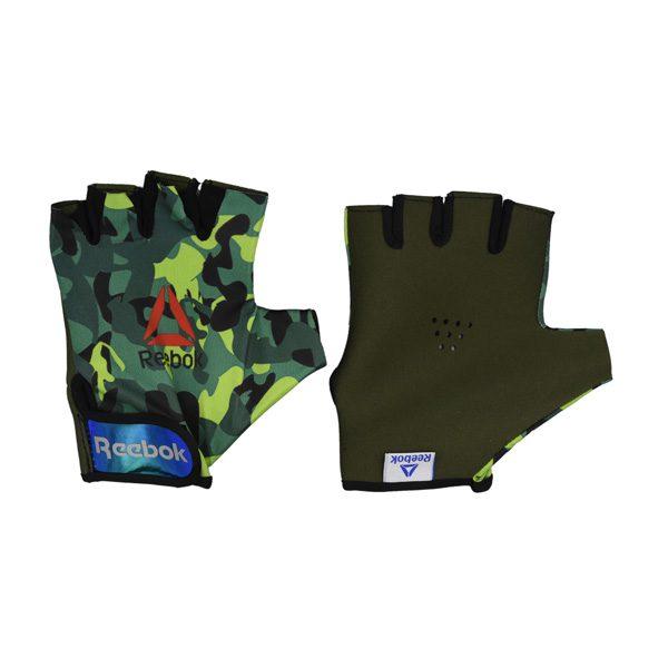دستکش بدنسازی مردانه ریباک مدل GDS طرح چریکی سبز تیره