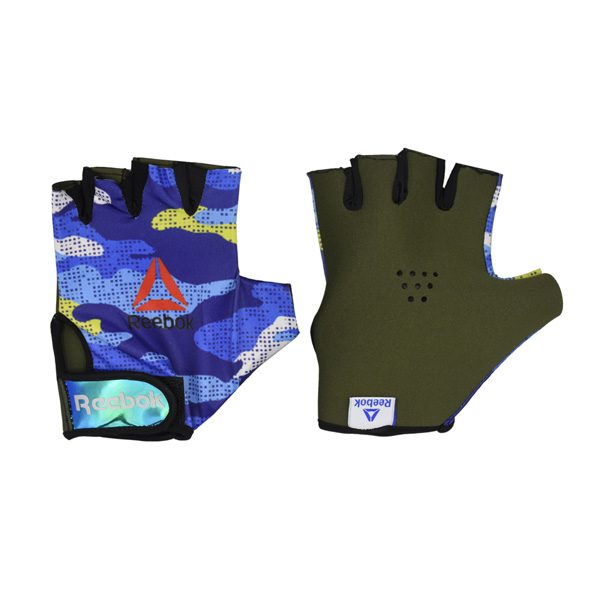 دستکش بدنسازی مردانه ریباک مدل GDS طرح چریکی آبی