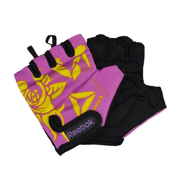 دستکش بدنسازی ریباک طرح FLOWER بنفش