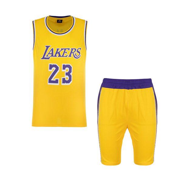 ست ورزشی مردانه رکابی و شلوارک بسکتبالی لیکرز مدل PY-L24 زرد