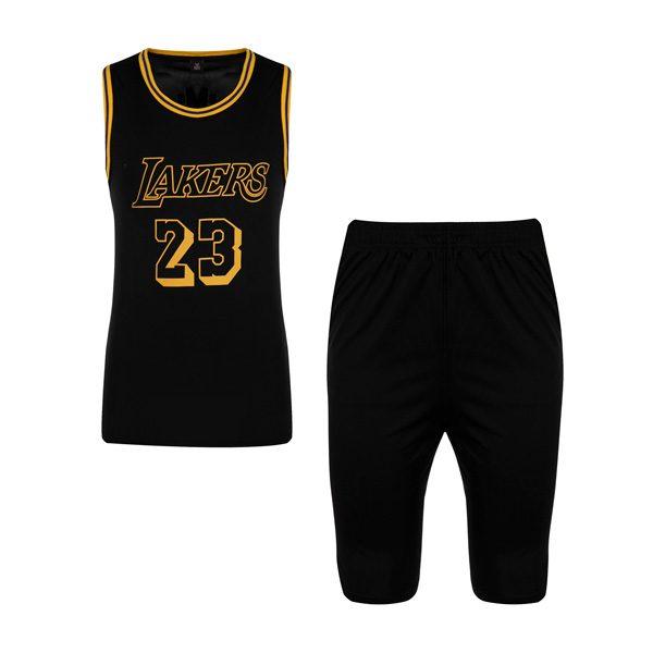 ست ورزشی مردانه رکابی و شلوارک بسکتبالی لیکرز مدل PY-L24 مشکی