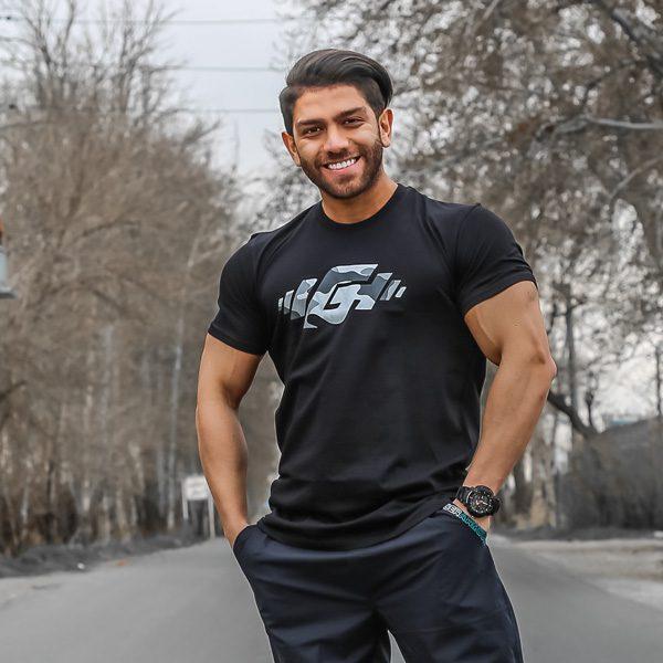 تیشرت ورزشی مردانه G-WEAR مدل L-WG چریکی مشکی لایف استایل