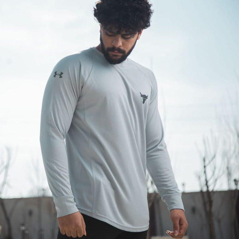 تیشرت استرج ورزشی مردانه آندر آرمور مدل ADN ROCK-0220 سفید لایف استایل ÷